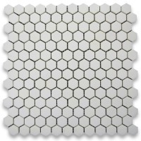 "Thassos White 1"" Hexagon Polished Marble Mosaic Tile"