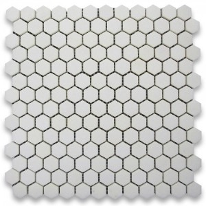 "White Thassos 1"" Hexagon Honed Mosaic Tile"