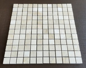 1 in. x 1 in. Crema Marfil Polished Marble Mosaic Tile | Wall | Backsplash | Bathroom | Kitchen | Shower | Natural Stone
