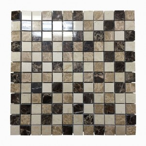 1 in. x 1 in. Dark Emperador and Light Emperador Polished Marble Mosaic Tile | Wall | Backsplash | Bathroom | Kitchen | Shower | Natural Stone