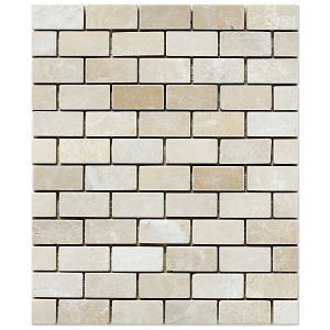 1x2 Botticcino Brick Pattern Tumbled Marble Mesh Mounted Mosaic Tile