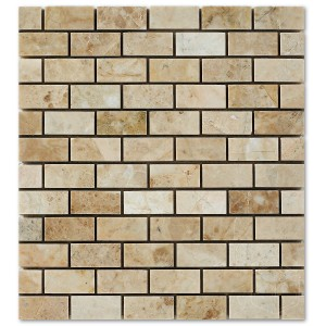 1x2 Bursa Beige Brick Pattern Polished Marble Mesh Mounted Mosaic Tile
