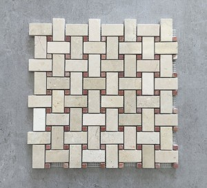1 in. x 2 in. Crema Marfil Basketweave with Red Dot Polished Marble Mosaic Tile | Wall | Backsplash | Bathroom | Kitchen | Shower