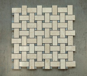 1 in. x 2 in. Crema Marfil Basketweave with Grey Dot Polished Marble Mosaic Tile | Wall | Backsplash | Bathroom | Kitchen | Shower
