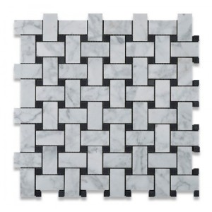 "Italian White Carrara Marble 1"" x 2"" Basketweave with Black Dots Honed Mosaic Tile"