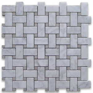 "Italian White Carrara Marble 1"" x 2"" Basketweave with Grey dots Honed Mosaic Tile 