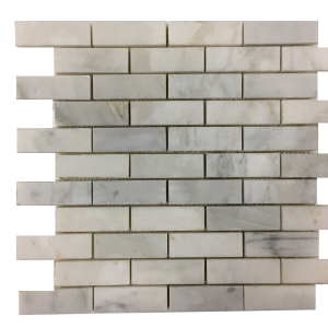 1x3 Brick White Marble Polished Mesh-Mounted Mosaic Tile