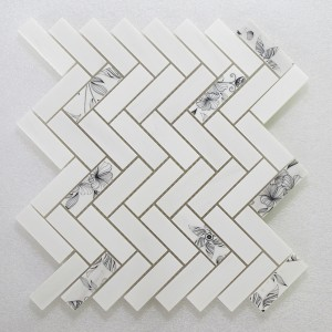 1x3 Herringbone White With Black Flower Dolomite Marble Mosaic Tile