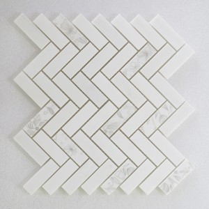 1x3 Herringbone White With White Flower Dolomite Marble Mosaic Tile