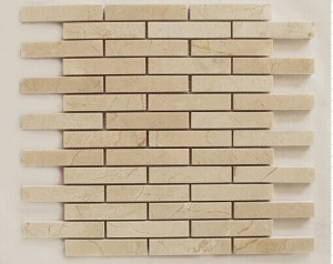 1 in. x 4 in. Crema Marfil Brick Polished Marble Mosaic Tile | Wall | Backsplash | Bathroom | Kitchen | Shower | Natural Stone
