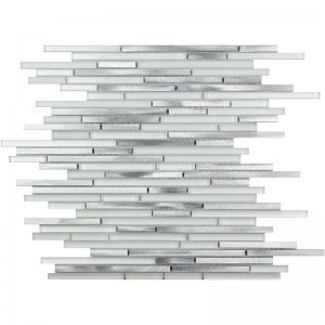 Cascades Stainless White Random Strip Glass and Metal Mosaic Tile