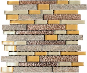 Random Zen Honey Suckle Beige Blend Slate & Glass Mosaic Tiles