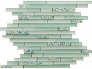 Random Strip Turquoise Backsplash Tile in Linear Glass Tile Mosaic Design