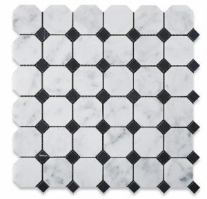 2 in. x 2 in. Arabescato Carrara White Marble Octagon with Black Dot Honed Mosaic Tile | Backsplash | Accent Wall | Shower | Kitchen & Bath