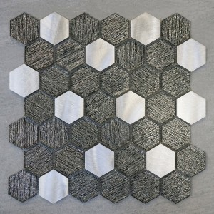 "2"" Hexagon Glass & Aluminum Polished Mosaic Tile"