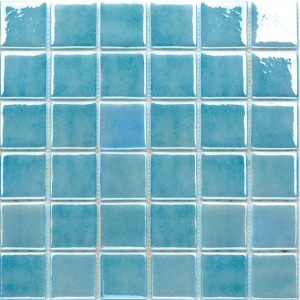 2x2 Aqua Blue & Green Mix Glossy Glass Mosaic Pool Tile (Each Sheet: 1.61 Sqft)