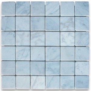 2x2 Italian Carrara White Square Pattern Tumbled Mesh Mounted Mosaic Tile