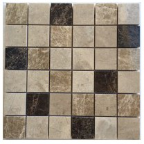 Spanish Emperador Blend 2X2 Polished Marble Mosaic Tile