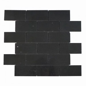 2 in. x 4 in. Nero Marquina Brick Polished Marble Mosaic Tile | Wall | Backsplash | Bathroom | Kitchen | Shower | Natural Stone