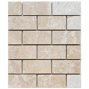 2x4 Botticcino Brick Pattern Polished Marble Mesh Mounted Mosaic Tile