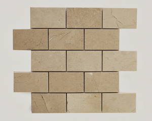2.25 in. x 4 in. Crema Marfil Brick Polished Marble Mosaic Tile | Wall | Backsplash | Bathroom | Kitchen | Shower | Natural Stone