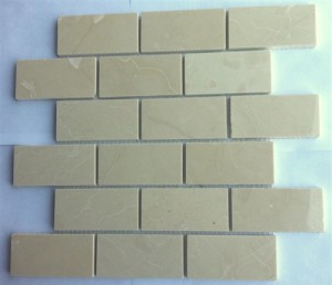 2 in. x 4 in. Crema Marfil Polished Mesh-Mounted Marble Mosaic Tiles
