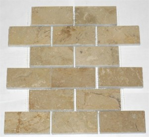 2x4 Sahara Beige Polished Mesh-Mounted Marble Mosaic Tiles