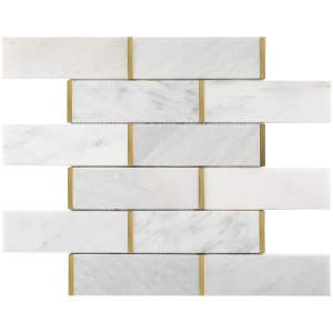 2 in. x 6 in. White and Gold Brick Pattern Polished Marble Mosaic Tile | Backsplash | Shower | Kitchen | Bathroom | Wall | Subway Tile