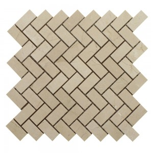 3/4 in. x 2 in. Crema Marfil Herringbone Polished Marble Mosaic Tile | Floor | Wall | Accent | Backsplash | Shower