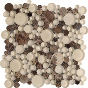 Bubbles Dark Emperador Circles Marble & Glass Mosaic Tile