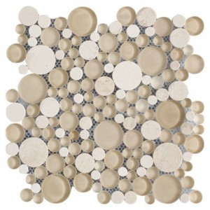 Bubbles Crema Marfil Polished-Frosted Marble & Glass Mosaic Tile