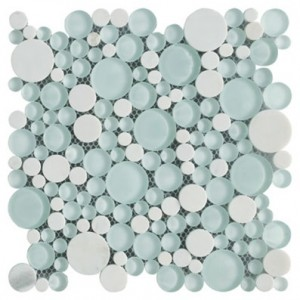 Bubbles Snow Dove Polished Random Circle Marble Glass Mosaic Tile