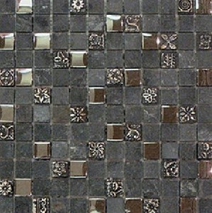 Composite Mirror Slate Glass Blend Mosaic tile