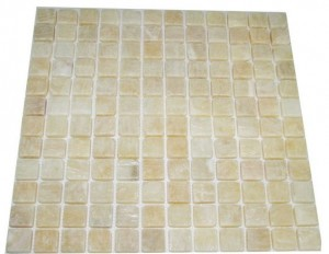 "Honey Onyx 1x1 Tumbled Mosaic Tiles Meshed on 12"" X 12"" Sheets"