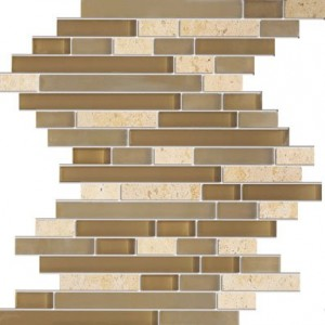 Chocolate Sand Random Brick Zen Series Stone & Glass Tile