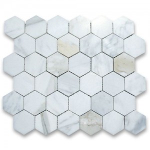 "Italian Calacatta Gold 2"" Hexagon Polished Marble Mosaic Tile"