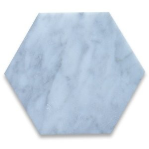 "Italian White Carrara 6"" Hexagon Polished Marble Tile for Bathroom, Kitchen and Floor"