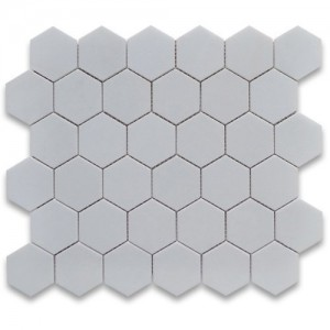 "Thassos White 2"" Hexagon Polished Marble Mosaic Tile"