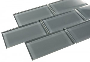 Eclipse 3 in. x 6 in. Brick Grey Glass Mosaic Tile