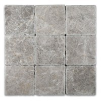 Tundra Gray 4 in.X 4 in.Tumbled  Marble Tile