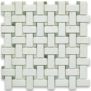 Thassos White 1x2 Basketweave Honed Marble Mosaic Tile with Green Dots