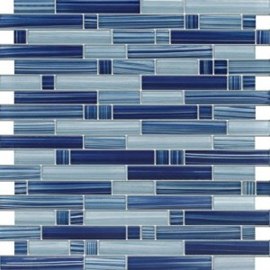 Cobalt Blue - Blue Random Pattern Glass Mosaic Tile