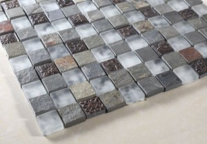 1 x 1 Multi Color Squre Pattern Slate & White Glass Mosaic Tile