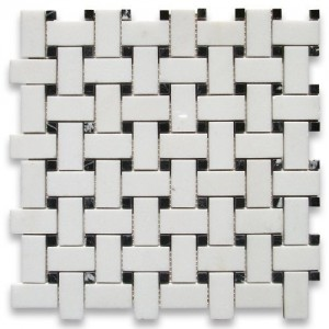 Thassos White 1x2 Basketweave Honed Marble Mosaic Tile with Black Dots
