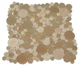Random Circle Brownie Beige Crema Marfil Marble & Glass Tile