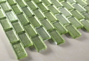 "Lime Green Galaxy Series 1""x2"" Glass Tile"