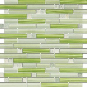 Random Strip Apple Martini Green Marble & Green Glass Tile
