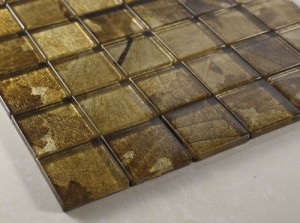 Fall 2 in.x 2 in.Gold & Yellow Glass Mosaic Tiles