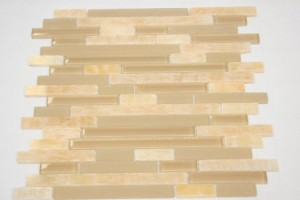 Random Brick Beige Brown Honey Onyx Glass  & Marble Tile