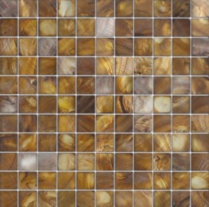 "Rusted Shell - 1""x1"" Golden Brown Shell Tile"